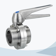 stainless steel food grade duck type handle male-male threading butterfly valve