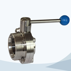 stainless steel hygienic round handle manual type male-welded butterfly valve