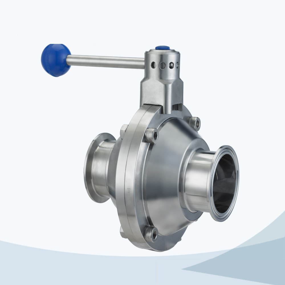 stainless steel sanitary grade round handle tri-clamped butterfly type ball valve