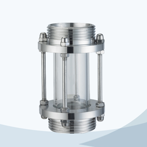 Sanitary tubular male threaded sight view glass