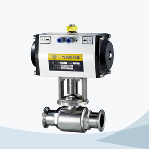 stainless steel food grade pneumatic tri-clamped straight way ball valve