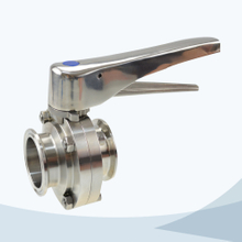 stainless steel food equipment clamped gripper butterfly valve with ss handle