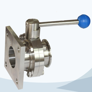stainless steel food grade manual -type flange-clamped butterfly valve