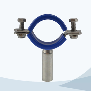 stainless steel sanitary round pipe holder with blue sleeve