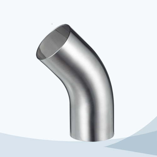 stainless steel hygienic grade long radius 45D clamped elbow