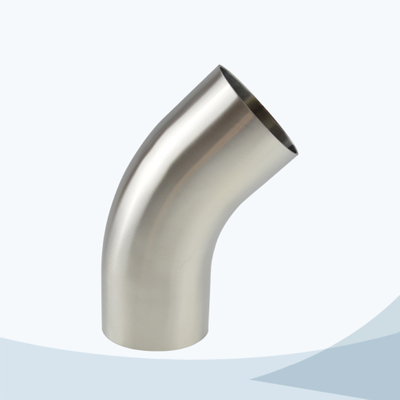 stainless steel hygienic grade L2KS long radius 45D clamped elbow