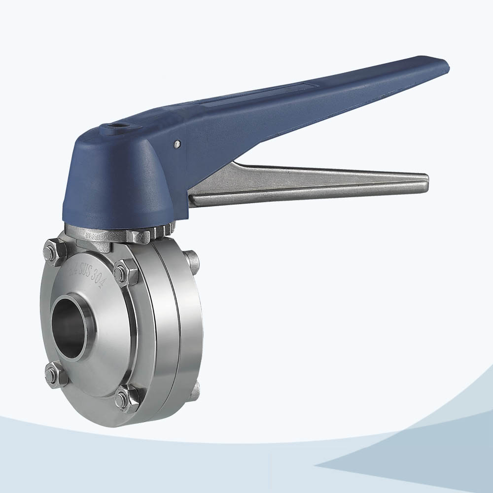 stainless steel food processing electrical welded butterfly valve