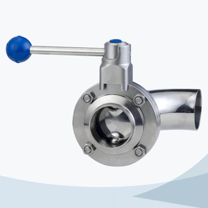 stainless steel sanitary round handle manual type bend-welded butterfly valve