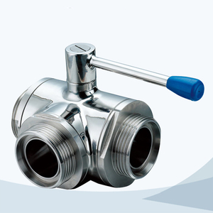 stainless steel food processing 3 way female threaded ball valve