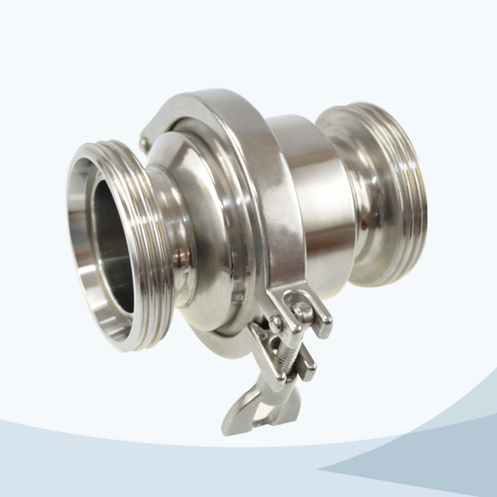 stainless steel sanitary grade middle-clamp male threading NRV check valve