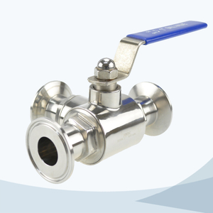 stainless steel hygienic clamped manual type 3 way ball valve