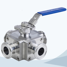 stainless steel hygienic grade cross type manual clamped forging ball valve