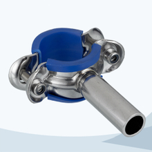 stainless steel food processing pipe support with blue sleeve
